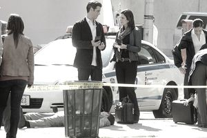 On the set of CSI: Crime Scene Investigation.