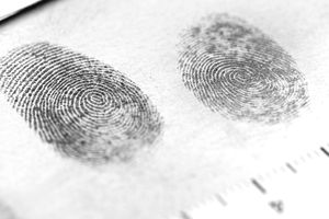 Closeup of two fingerprints on paper