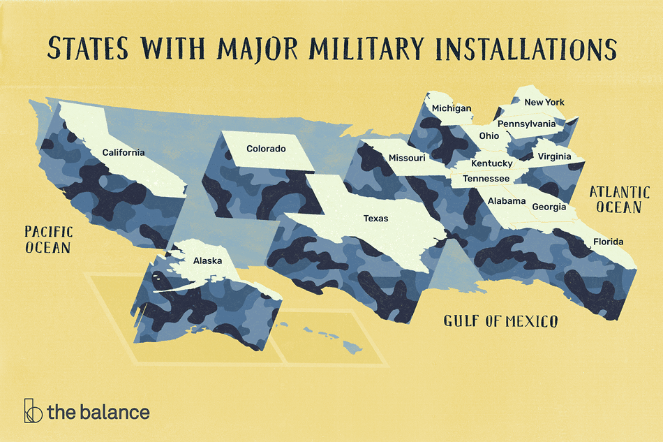 Map of the U.S. with all relevant states raised up. Title reads: States with major military installations: California, alaska, colorado, texas, missouri, michigan, ohio, kentucky, tennessee, alabama, georgia, florida, virginia, pennsylvania, new york