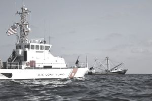 U.S. Coast Guard Cutter Marlin patrols the waters south of Pensacola Bay