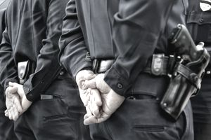 Closeup of officers standing with hands behind