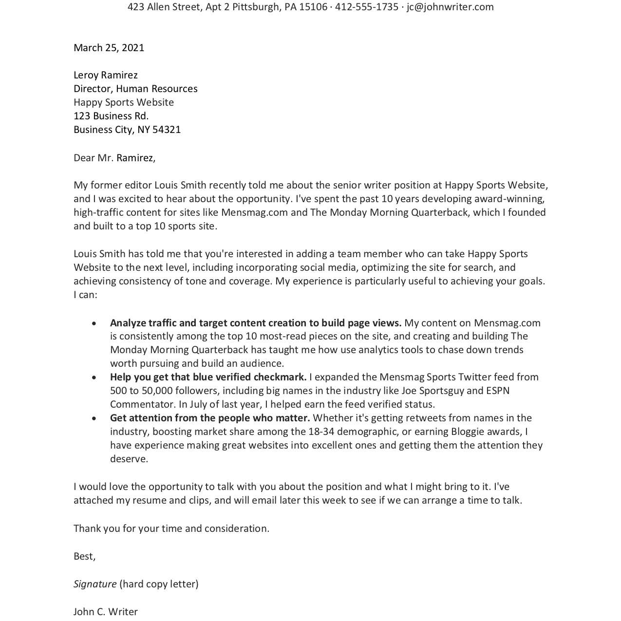 Freelance Resume And Cover Letter