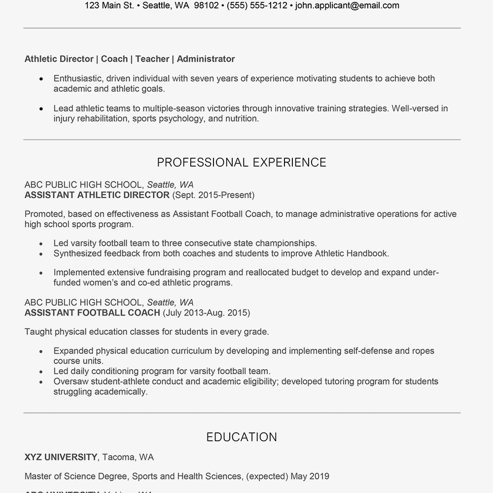 Screenshot Of An Athletic Director Resume Example