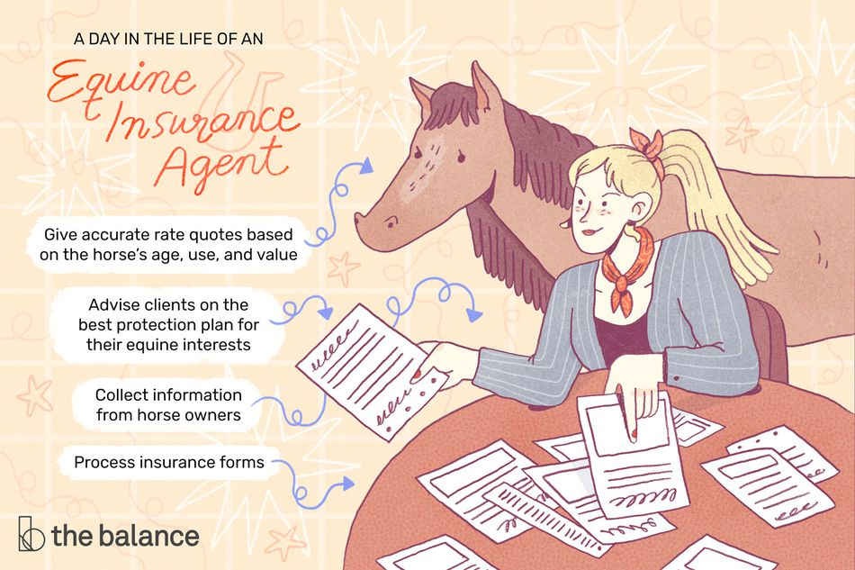 This illustration depicts a day in the life of an equine insurance agent including