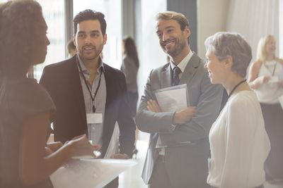 Businesspeople networking at an event