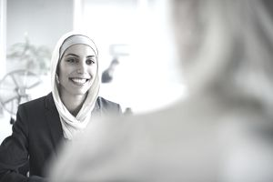 woman smilling during job interview