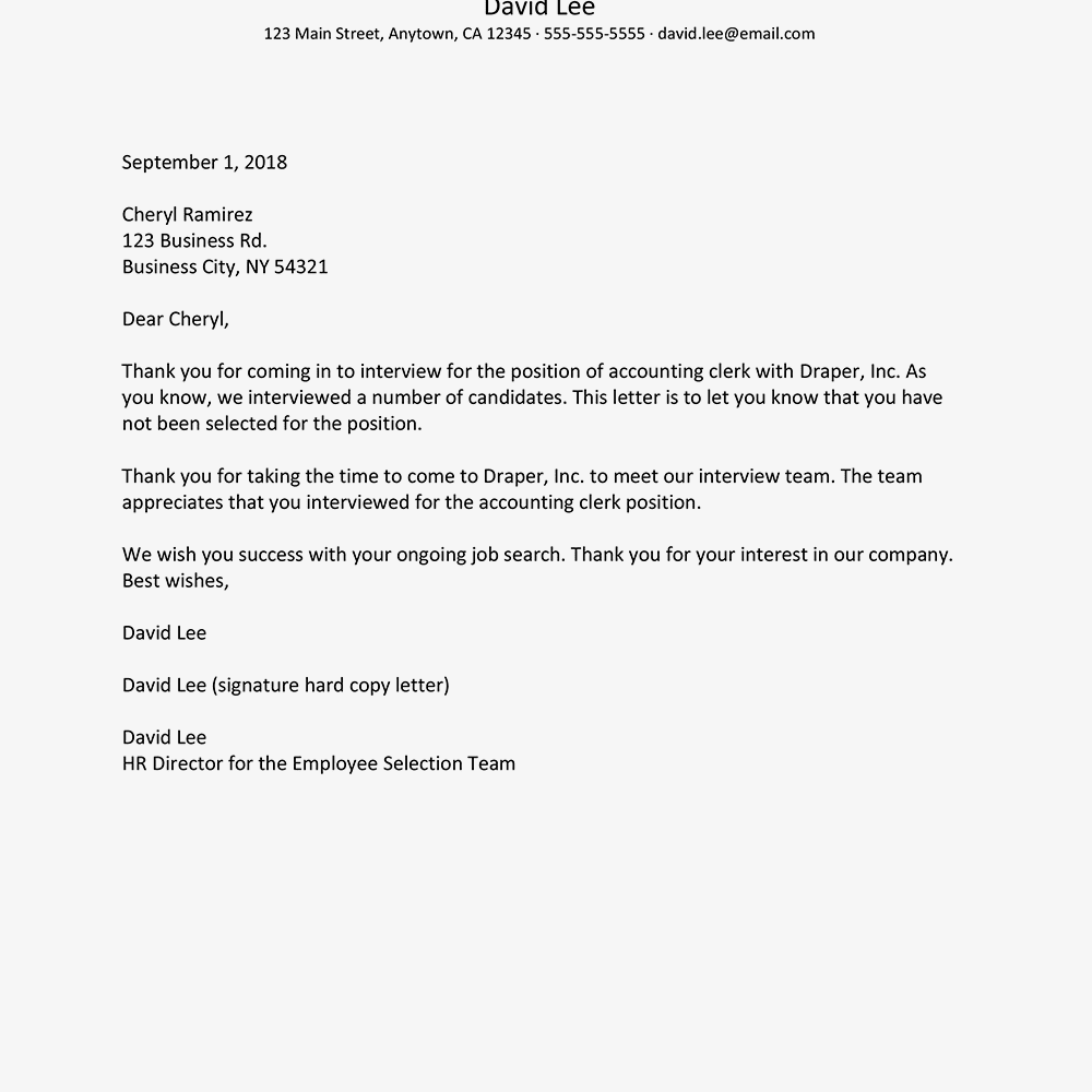 denial letter for job rejection letter samples and policies 21345