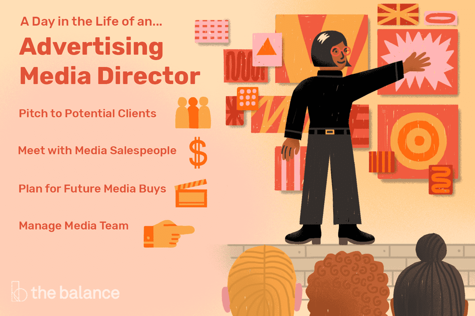 A day in the life of an advertising media director: Pitch to potential clients, meet with media salespeople, plan for future media buys, manage media team