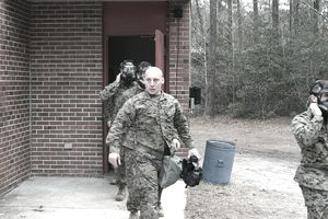 Marines exiting gas chamber