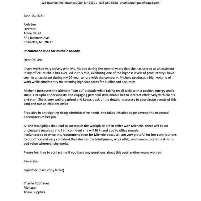 reference letter sample from an employee's manager