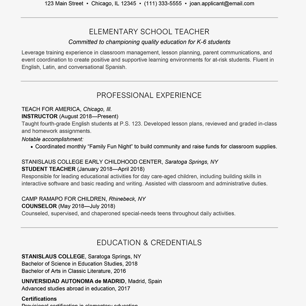 Screenshot Of A Sample Resume For Teacher