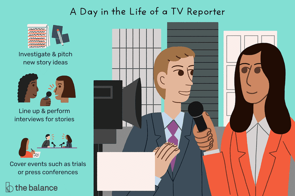 A day in the life of a TV reports: Investigate and pitch new story ideas, line up and perform interviews for stories, cover events such as trials or press conferences