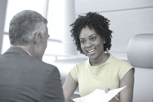 Job interview blck woman and older white man