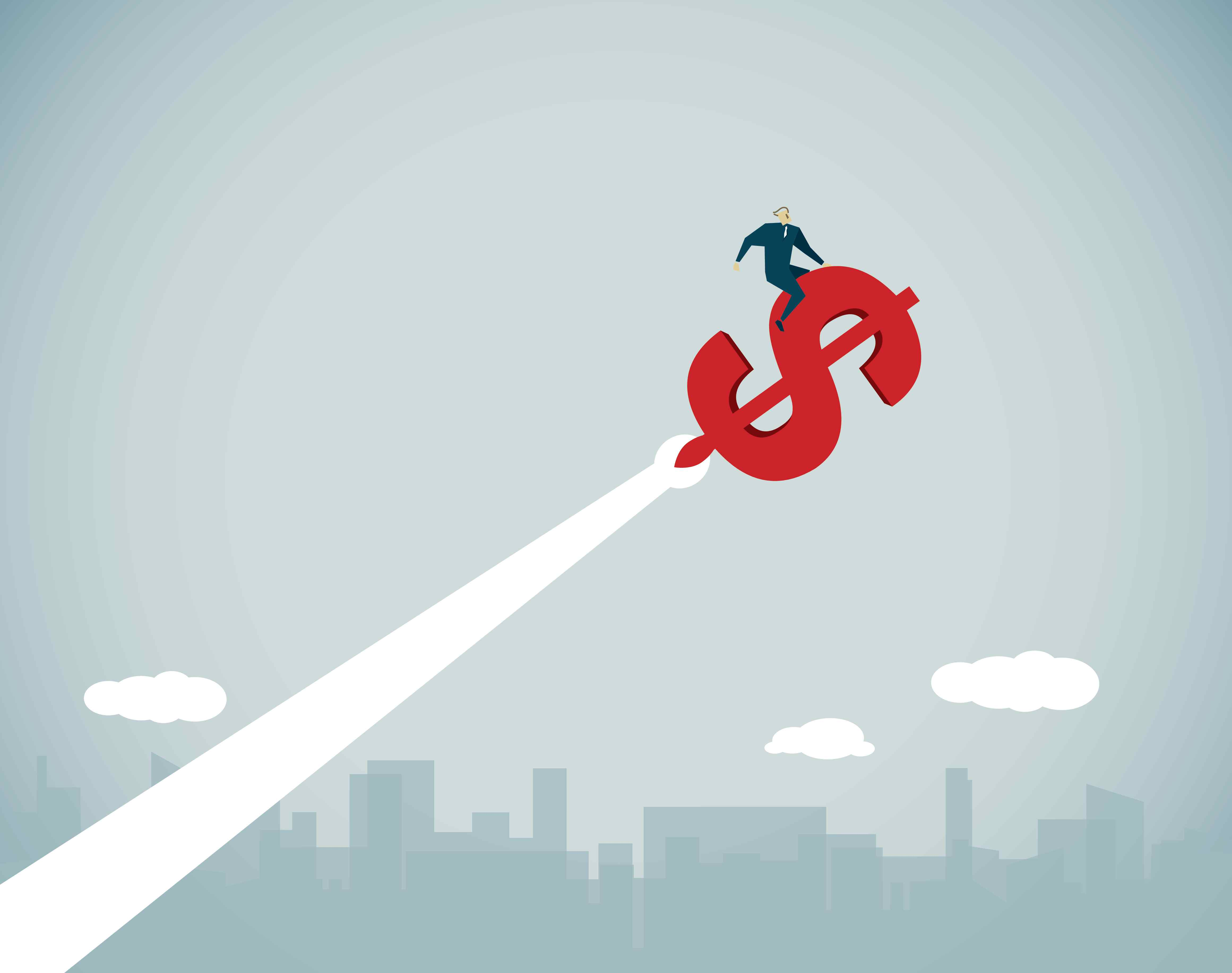 Illustration of a man riding a dollar sign into the sky representing career advancement.