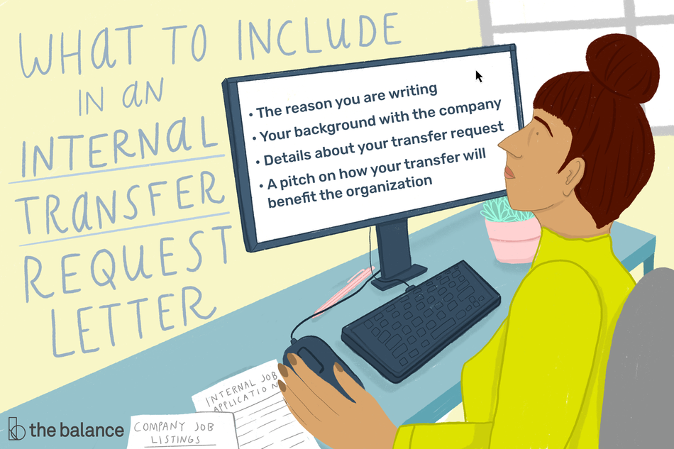 "Image shows a woman sitting at a desk on her desktop computer. Text reads: ""What to include in an internal transfer request letter: The reason you are writing, your background with the company, details about your transfer request, a pitch on how your transfer will benefit the organization"""