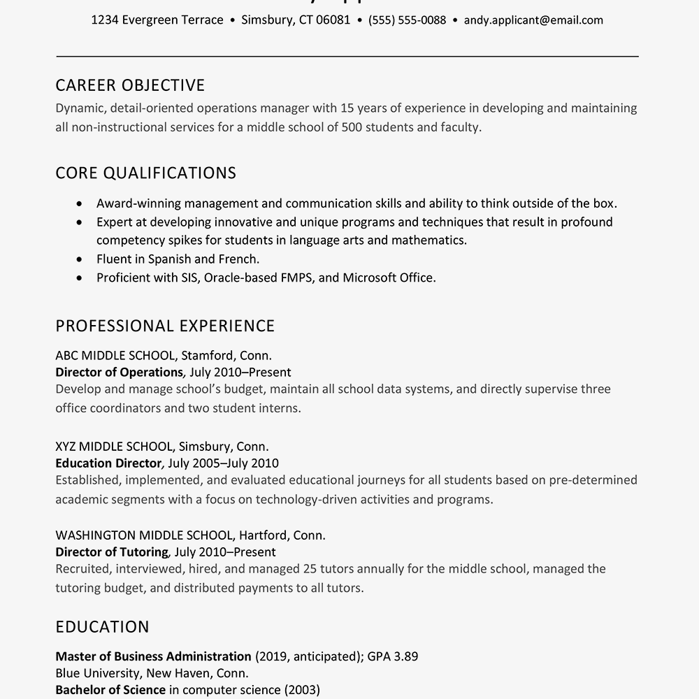 sample resume for an educational director of operations