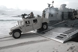 Marine HUMVEE and amphib drop onto Somalia