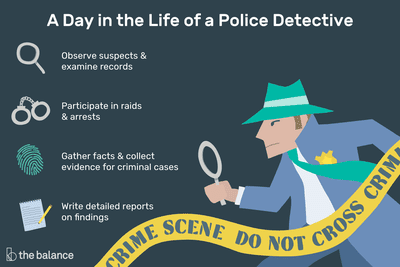 A day in the life of a police detective: Observe suspects and examine records, participate in raids and arrests, gather facts and collect evidence for criminal cases, write detailed reports on findings