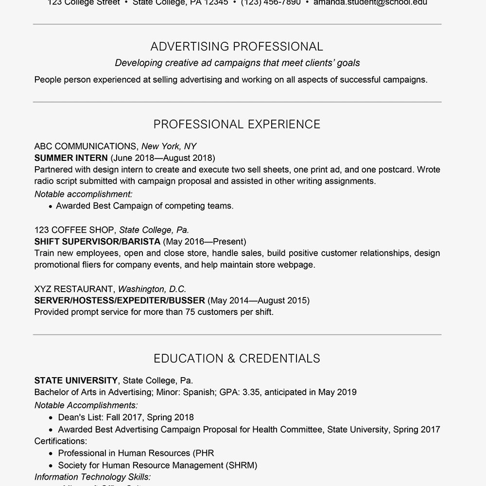 Example of a college student resume