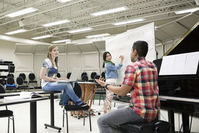 Music major students working in music room on a college campus.