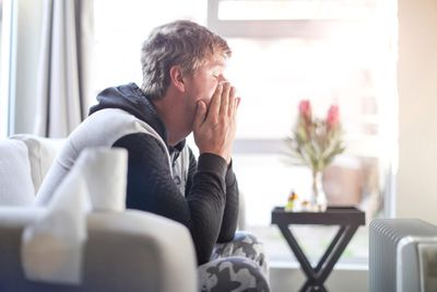 Person sick at home