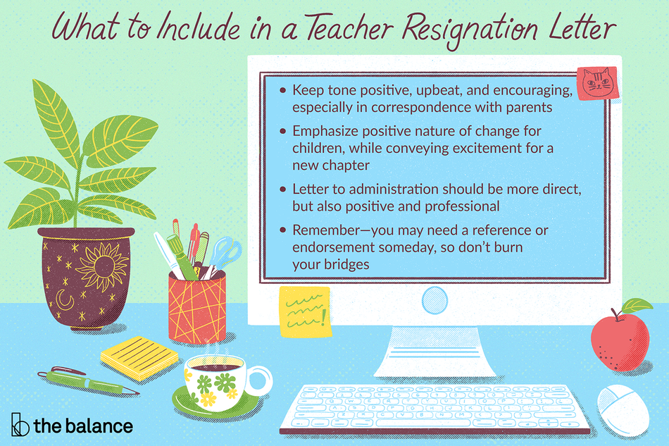 This illustration shows what to include in a teacher resignation letter, including keeping the tone positive, upbeat, and encouraging especially when corresponding with parents; emphasizing positive nature of change for children, while conveying excitement for a new chapter; writing the letter to the administration in a direct way, but also keeping it positive and professional; and remembering to not burn any bridges in case you need a reference or endorsement one day.