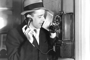 1930s businessman talking on the phone