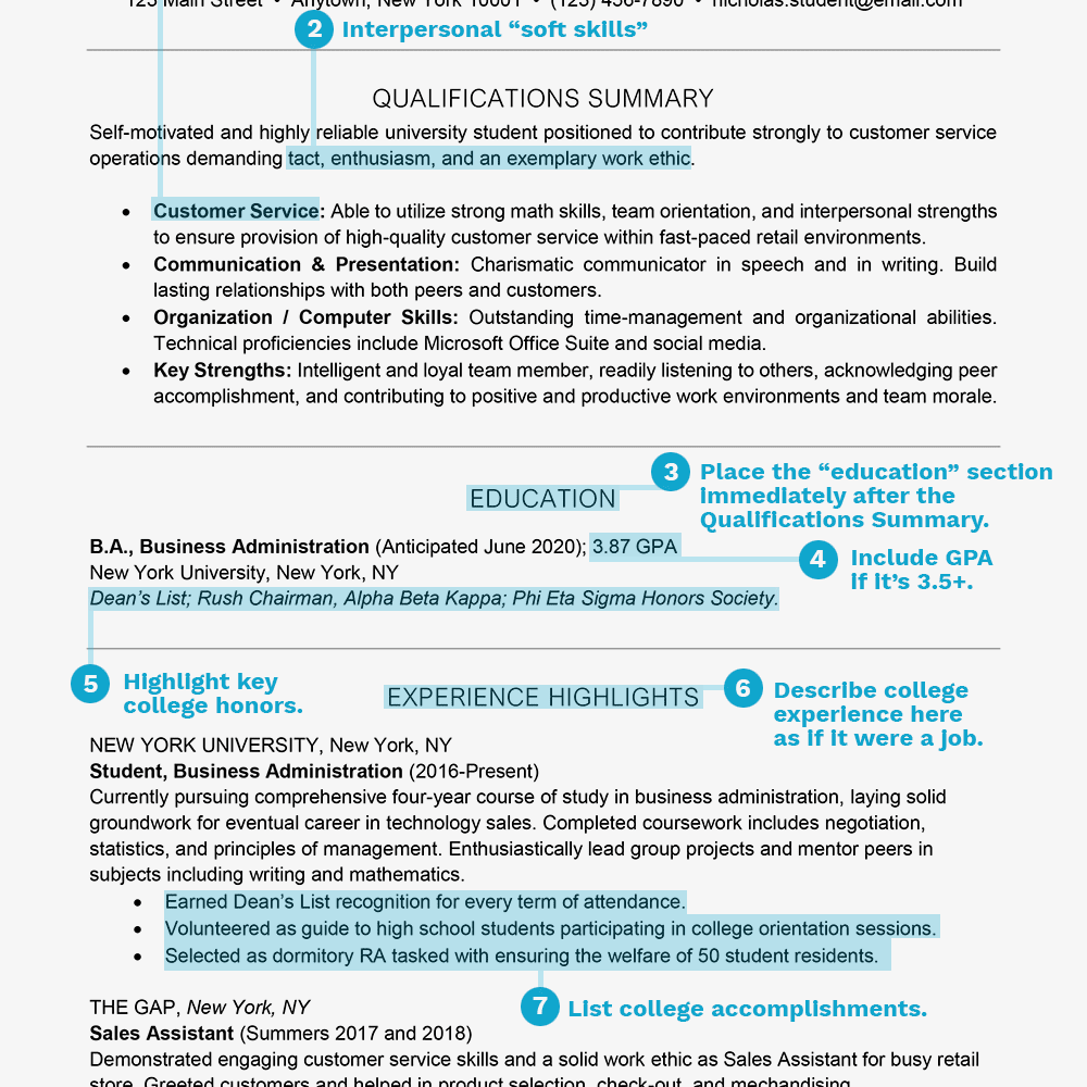 Resume Sample With Tips On What To Include Text Version Nicholas Student