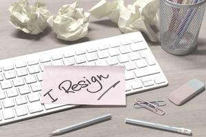i resign message on abandoned office desk