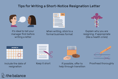 Tips for writing a short-notice resignation letter