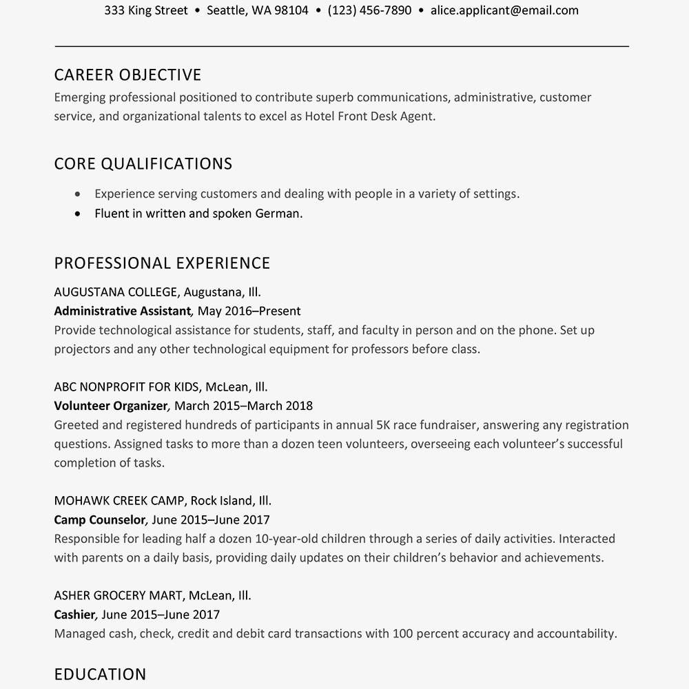 Cv Format For Hotel Job from www.thebalancecareers.com