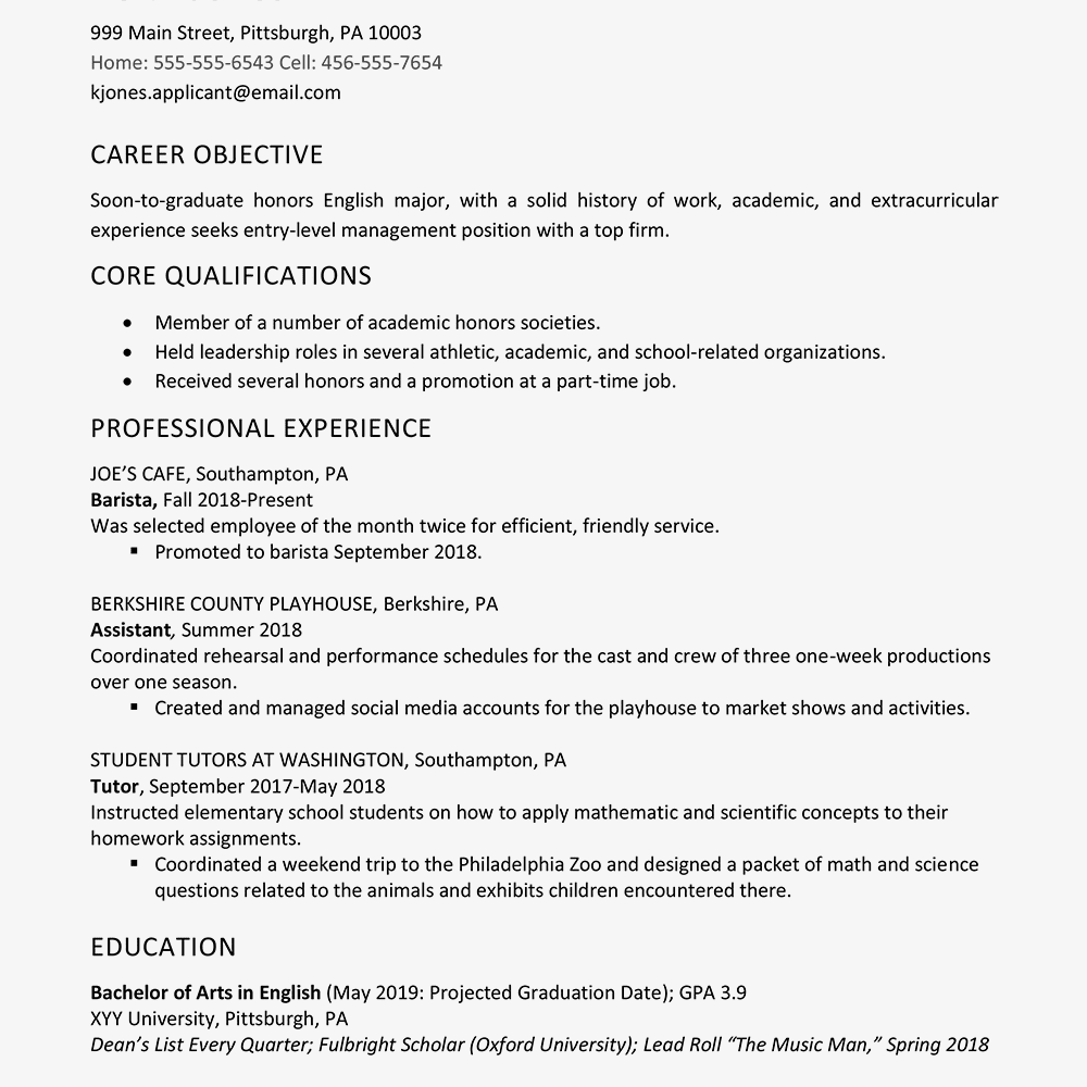 High School Graduate Resume Example - Work Experience