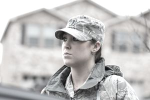 Enlisted Female Air Force Soldier in jacket and hat