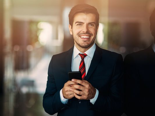 Business person texting