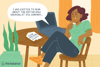 """Young adult sitting at their computer brainstorming how to write a cover letter for an editing role. Speech bubble reads """"I was excited to read about the editor role opening at XYZ company..."""""""