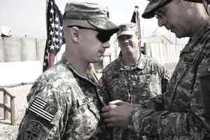 U.S. Army soldier receives army service ribbon