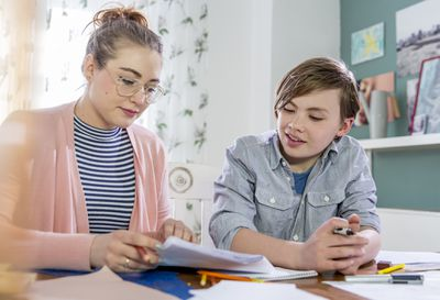 Private tutoring lesson for 10 years old blonde primary school boy