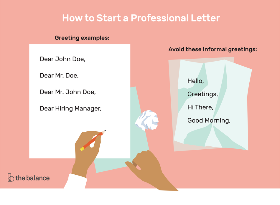 "image shows a pair of hands writing on two pieces of paper. Title reads: ""How to start a professional letter."" The first piece of paper is smooth and says ""Greeting exampls: dear john doe, dear mr. doe, dear mr. john doe, dear hiring manager"" The second piece of paper is crumpled up. It says ""Avoid these informal greetings: hello, greetings, hi there, good morning"""