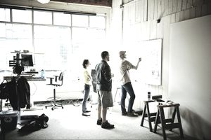 Project team brainstorming at a whiteboard