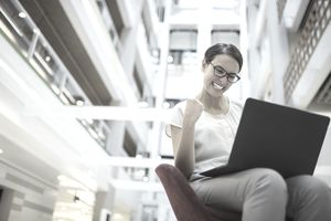 Woman excited at work