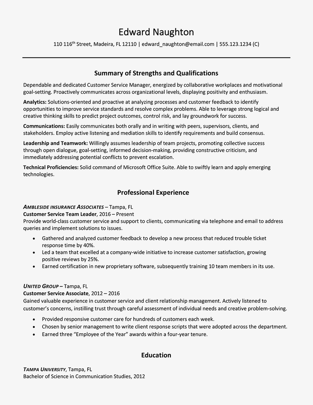 key strengths in resume