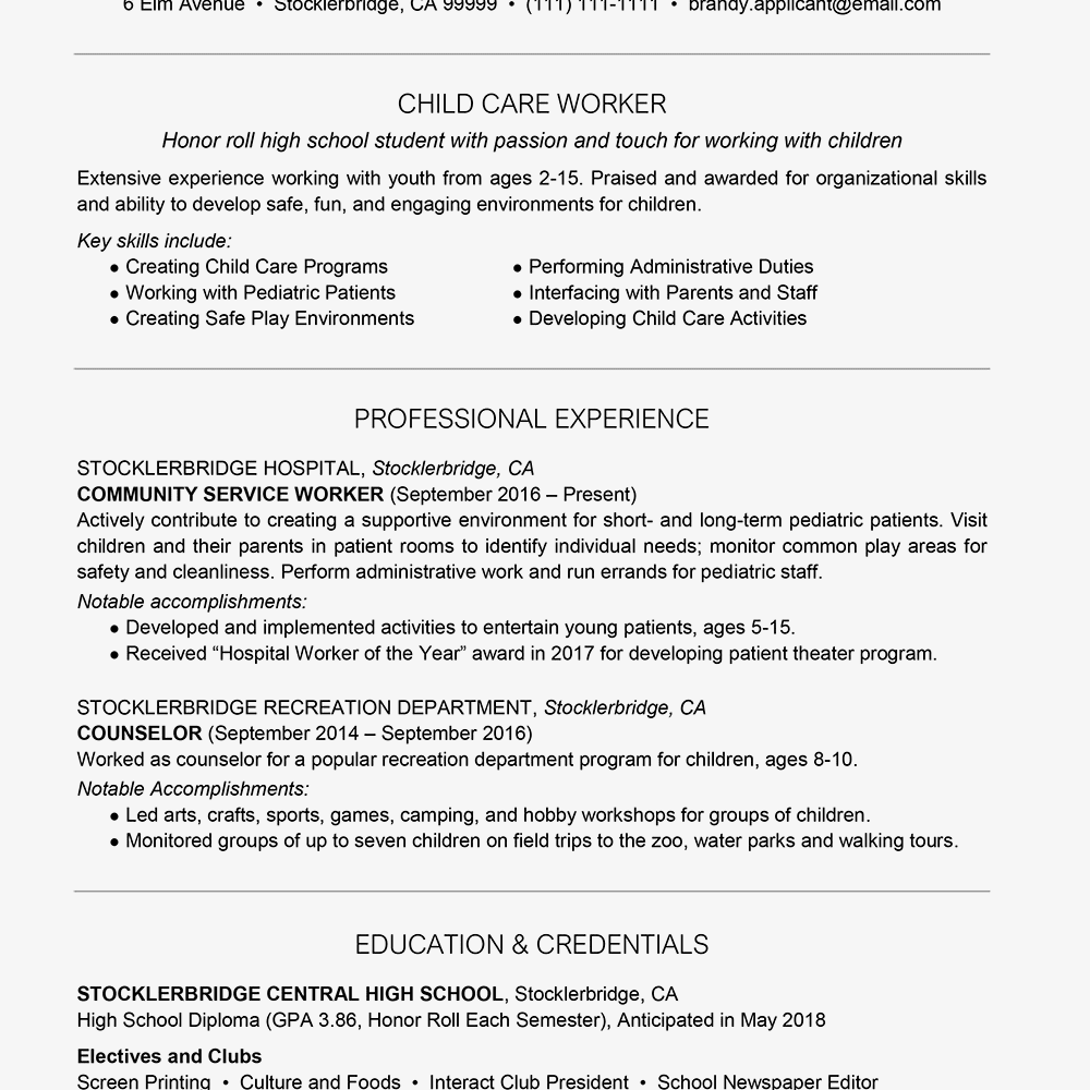 Performing Resume | High School Resume Example With Summary