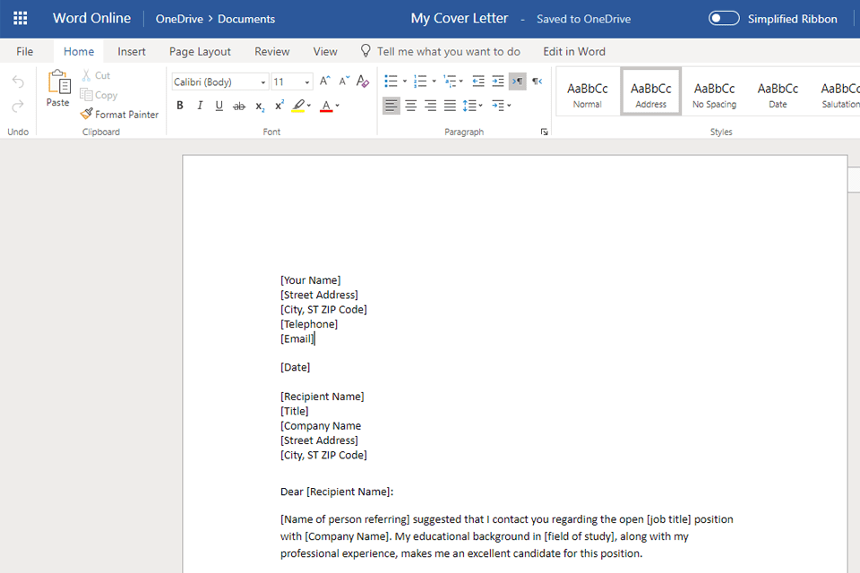 Screenshot Of A Template Open In Microsoft Word Ready For Editing Once You Have Downloaded Or Opened Cover Letter