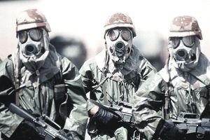 Soldiers in army masks