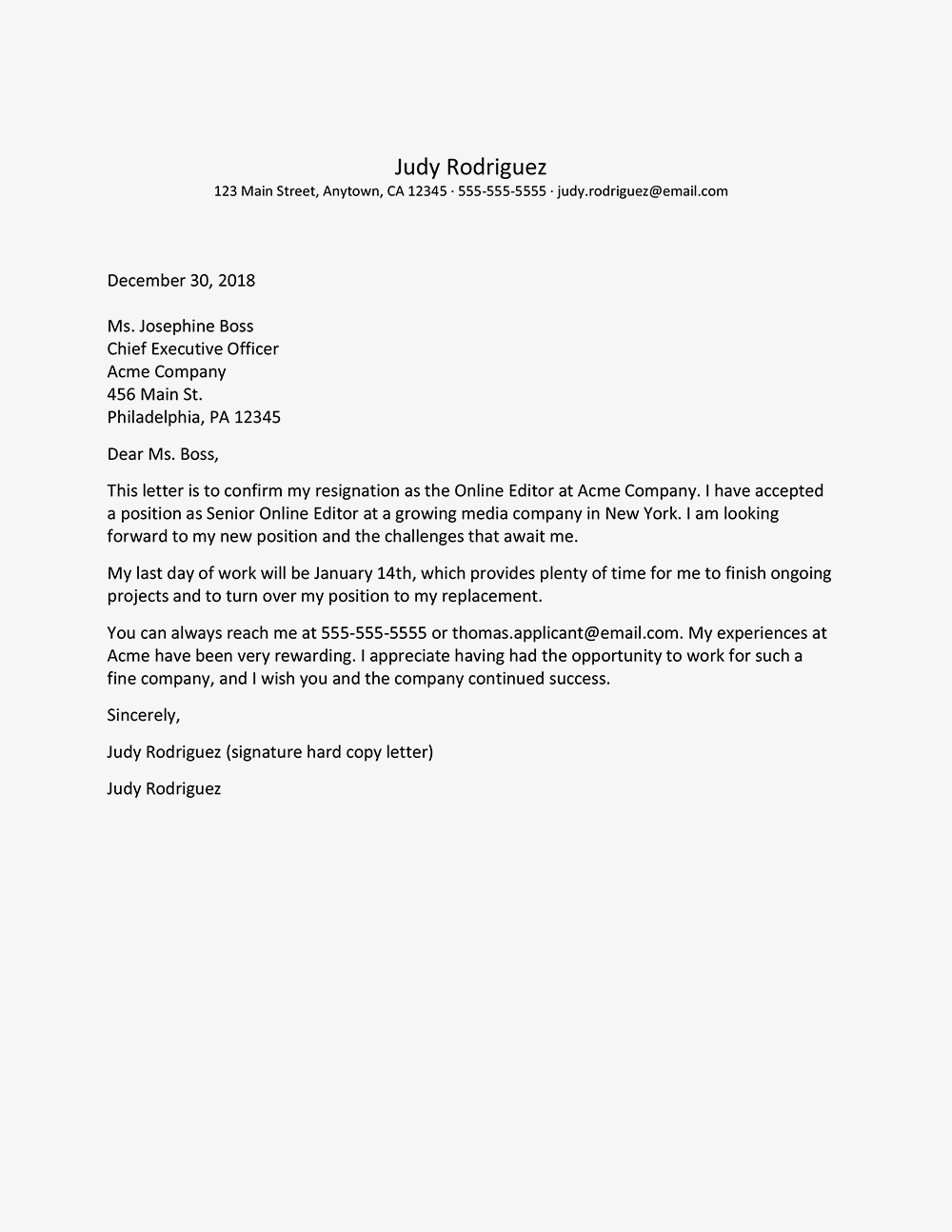 Resignation Letter Sample With Thank You