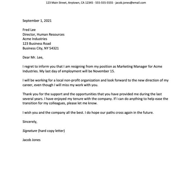 Screenshot of a career change letter of resignation example