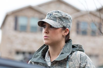 Female Air Force Soldier working a Mental Health Service 4C0X1 Job