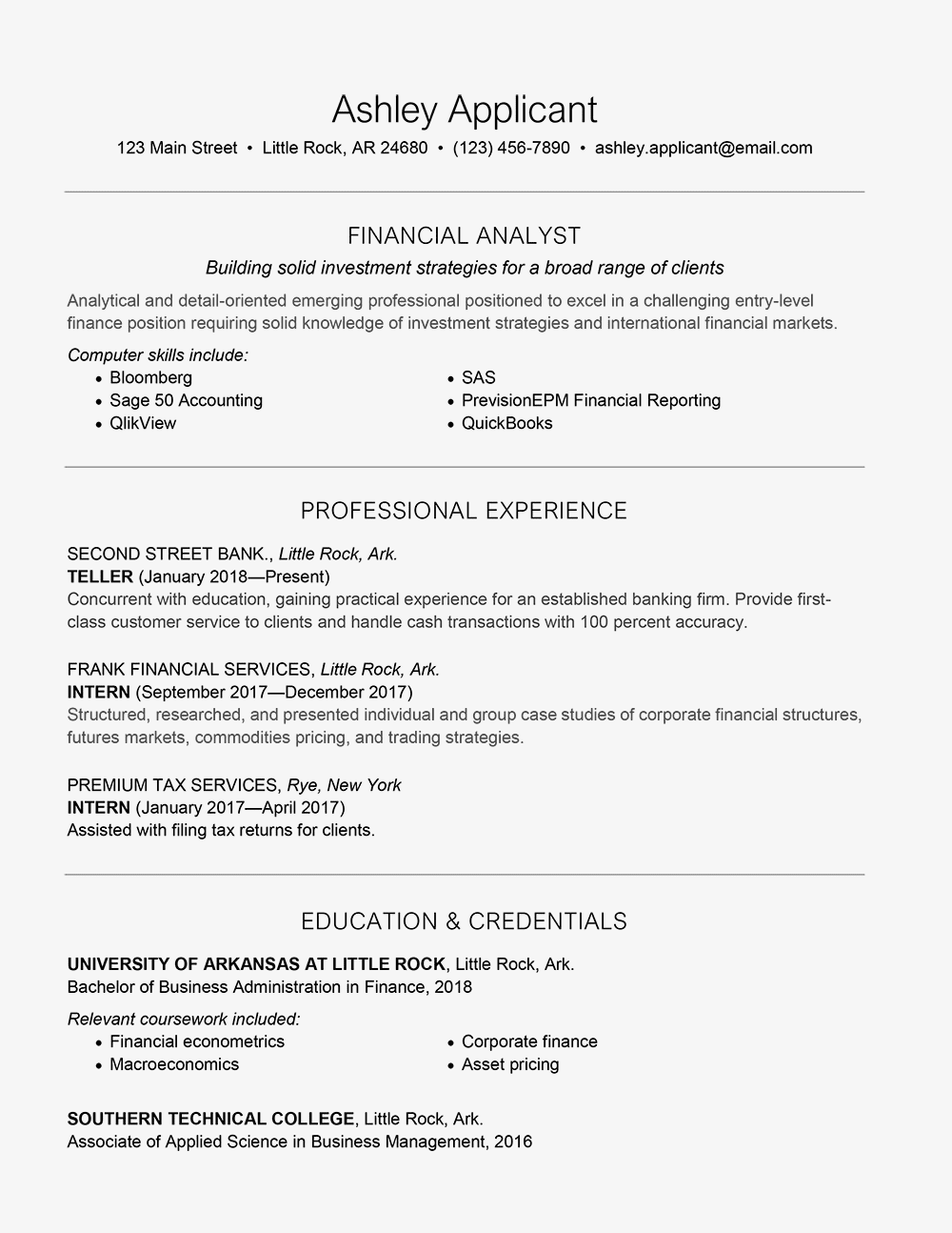 entry level finance cover letter and resume samples