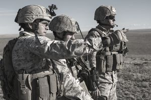 .S. Marine Corps joint terminal attack controllers (JTAC) work a close-air support mission from