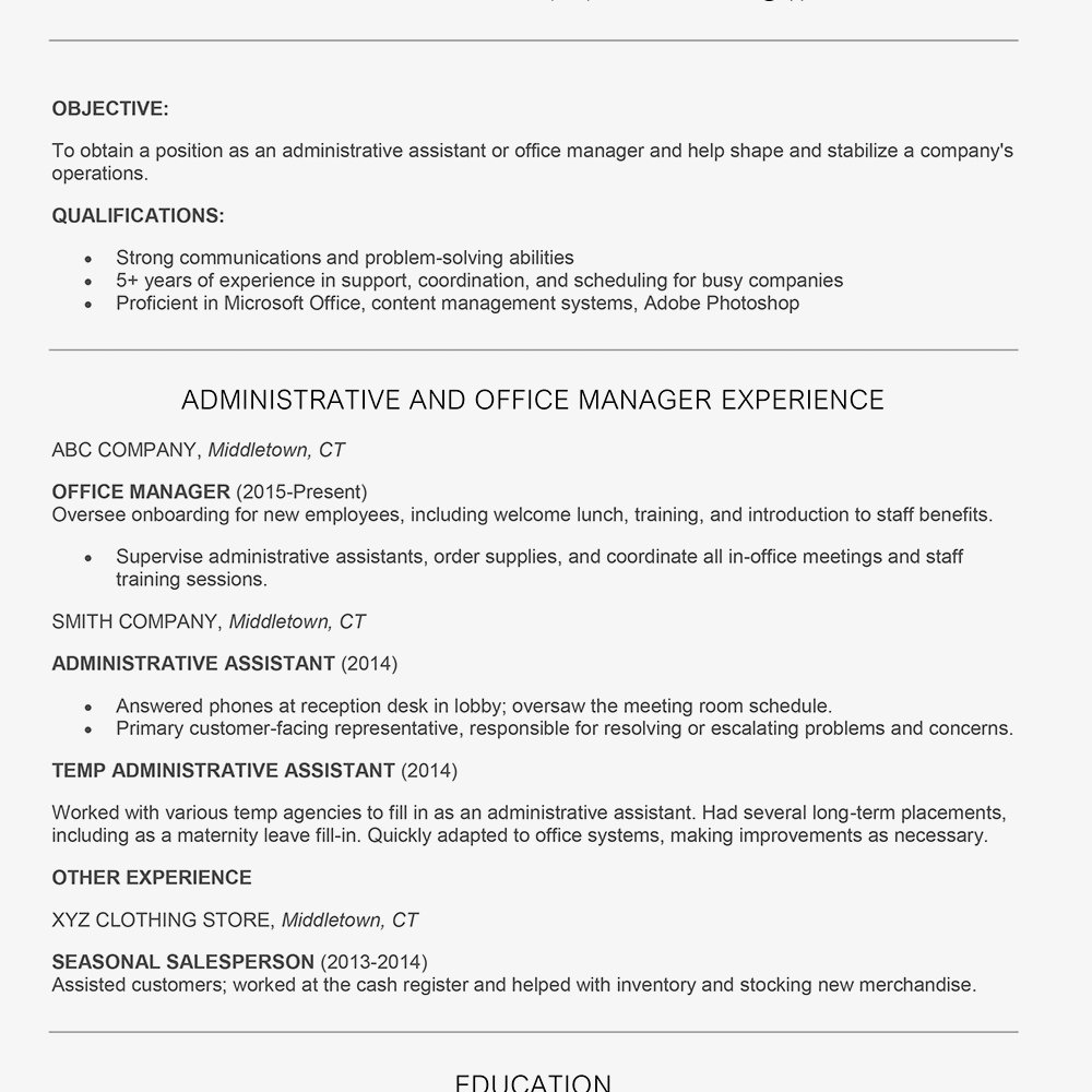 Screenshot Of A Resume Sample For Job Hopper